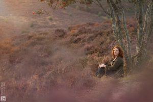 fotoshoot voor website op de Posbank paarse heide